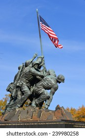 WASHINGTON, DC - NOVEMBER 16, 2014: Iwo Jima Memorial in Washington, DC. The Memorial honors the Marines who have died defending the US since 1775 and a prominent tourist attraction in Washington DC.
