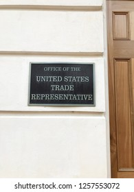 WASHINGTON, DC - NOVEMBER 18, 2018: Office of the United States Trade Representative - sign at entrance to building.