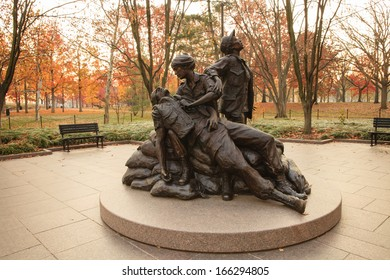 WASHINGTON, DC - NOVEMBER 23:  The Vietnam Women's Memorial, as seen in Washington, DC on November 23, 2012, is a landmark honoring the women of the United States who served in the Vietnam War.