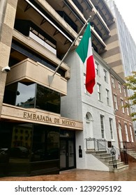 WASHINGTON, D.C. - NOVEMBER 24, 2018: Entrance to the Embassy of Mexico (Embajada De Mexico)