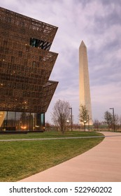 WASHINGTON, DC - NOVEMBER 25, 2016:  The Washington Monument and the newly opened National Museum of African American History and Culture are major tourist attractions in the nation's capital city.