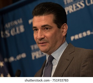 WASHINGTON, DC -  NOVEMBER 3, 2017: FDA Commissioner Dr. Scott Gottlieb speaks to a luncheon at the National Press Club