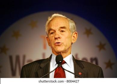 "WASHINGTON DC – OCT 19: Representative Ron Paul speaking at ""Washington Briefing 2007: Values Voter Summit"" on October 19, 2007, at the Hilton Hotel in downtown Washington DC."