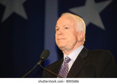 "WASHINGTON DC – OCT 19: Senator John McCain speaking at ""Washington Briefing 2007: Values Voter Summit"" on October 19, 2007, at the Hilton Hotel in downtown Washington DC."
