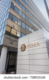 WASHINGTON, DC - OCT. 20, 2017: Vertical, FEMA sign, Headquarters Building. Federal Emergency Management Agency sign with Department of Homeland Security logo, which FEMA has been a part of since 2003