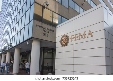 WASHINGTON, DC - OCT. 20, 2017: FEMA sign, Headquarters Building. Federal Emergency Management Agency sign with Department of Homeland Security logo, which FEMA has been a part of since 2003