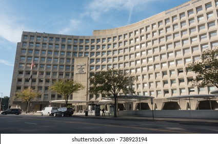 WASHINGTON, DC - OCT. 20, 2017: Department of Housing and Urban Development - HUD - headquarters, 7th Street SW.  AKA Robert C. Weaver Federal Building. HUD is a cabinet dept. of US government.
