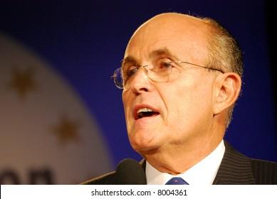 "WASHINGTON DC – OCT 20: Former New York Mayor Rudy Giuliani speaking at ""Washington Briefing 2007: Values Voter Summit"" on October 20, 2007, at the Hilton Hotel in downtown Washington DC."