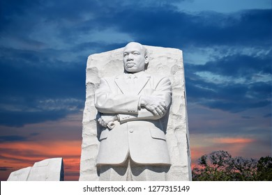 WASHINGTON DC - OCT, 2011: Martin Luther King Jr Memorial, portrait of the civil rights leader carved in granite, dedicated by President Barack Obama in 2011.