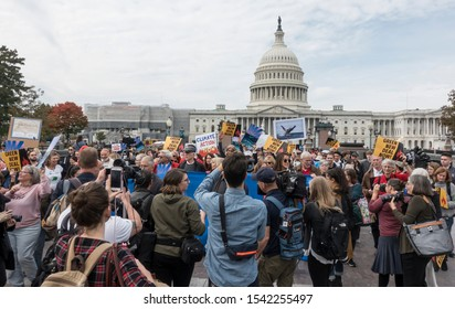 WASHINGTON, DC - Oct. 25, 2019: Actress and activist Jane Fonda's ongoing Fire Drill Friday protest at U.S. Capitol demanding government action on climate change and end to reliance on fossil fuel.