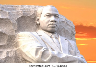 WASHINGTON DC - OCT 9, 2011: Martin Luther King Jr Memorial, portrait of the civil rights leader carved in granite, dedicated by President Barack Obama in 2011.