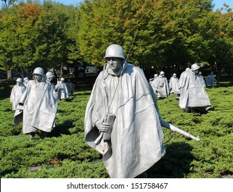 WASHINGTON DC - OCT 9: Korean War Memorial in Washington DC on October 9, 2011. The Korean War Memorial represents a squad on patrol in a war between South Korea and North Korea.