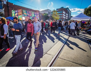 WASHINGTON, DC - OCTOBER 13, 2018: People walking through the streets at the H Street Festival in DC