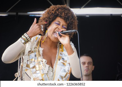 WASHINGTON, DC - OCTOBER 13, 2018: A woman sings on stage during the H Street Festival in Washington DC