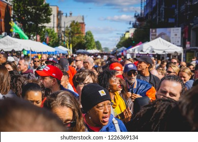 WASHINGTON, DC - OCTOBER 13, 2018: A diverse crowd walks through the H Street Festival in Washington DC