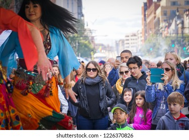 WASHINGTON, DC - OCTOBER 13, 2018: The crowd watches dancers at the H Street Festival in Washington DC