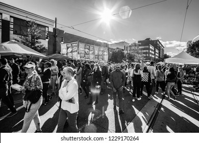 WASHINGTON, DC - OCTOBER 13, 2018: Black and white photo of people attending the H Street Festival in DC