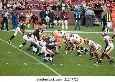 Washington, DC - October 19: Washington Redskins defending against Cleveland Browns at Fedex Stadium in Washington, DC, on October 19, 2008. Redskins won 14-11