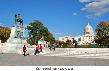 WASHINGTON, DC - OCTOBER 21: Washington DC Capitol on October 21, 2012 in Washington DC,USA. The Capitol is a famous attraction in Washington DC, and people from all over the world come to visit.