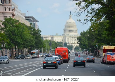 WASHINGTON, DC - OCTOBER 21: Downtown Washington DC Streets, and Transport System on October 21, 2011 in Washington DC,USA. Washington has various modes of transportation,and parking system available