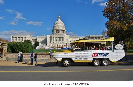 WASHINGTON, DC - OCTOBER 21: Washington DC Ducks Tour on October 21, 2012 in Washington DC,USA.The DC Ducks buses are amphibious vehicles that goes by land and water.