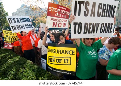 WASHINGTON, DC - OCTOBER 22: Health-care reform advocates march in the streets outside of a meeting of America's Health Insurance Plans (AHIP) on October 22, 2009 in Washington, DC.