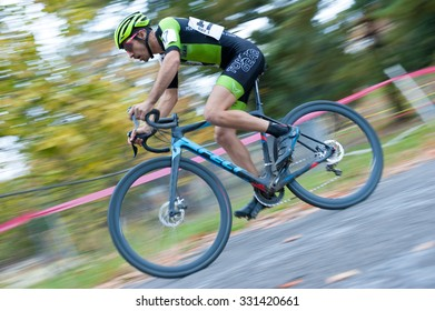 WASHINGTON DC - OCTOBER 24: A cyclist competes  in the DC cyclocross competition on October 24, 2015 in Washington, DC