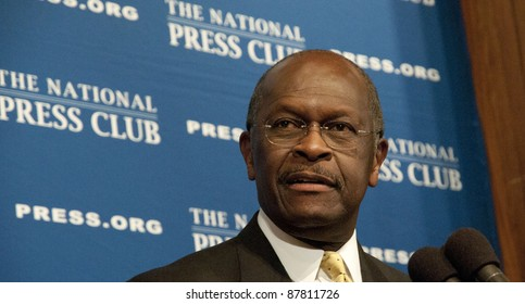 WASHINGTON, DC - OCTOBER 31: Republican Presidential contender Herman Cain speaks to a luncheon at the National Press Club, October 31, 2011 in Washington, DC