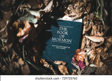Washington, DC - October 7, 2017: The Book of Mormon, a sacred text of the Church of Jesus Christ of Latter-day Saints.