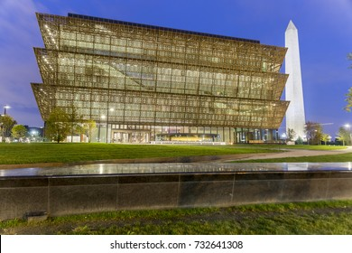 Washington DC - October 8th 2016: National Museum of African American History and Culture  on the National Mall with the Washington Monument in the background.