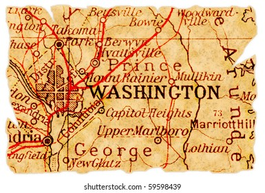 Washington D.C. on an old torn map from 1949, isolated. Part of the old map series.