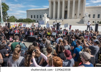 WASHINGTON, DC - SEPT 28, 2018: Actress Alyssa Milano speaks at demonstration in front of US Supreme Court to protest the handling of the Bret Kavanaugh nomination for Supreme Court associate justice.
