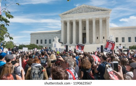 WASHINGTON, DC - SEPT 28, 2018:  Senators (l to r)) Mazie Hirono (D-Hawaii), Kirsten Gillibrand (D-N.Y.), & Kamala Harris (D-Calif.) at demonstration to protest the Bret Kavanaugh nomination for court