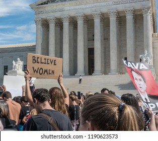 WASHINGTON, DC - SEPT 28, 2018: Demonstration in front of US Supreme Court to protest handling of the Bret Kavanaugh nomination for Supreme Court by Republican controlled senate judiciary committee.