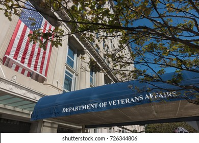 WASHINGTON, DC - SEPT. 7, 2017: Department of Veteran Affairs, VA, headquarters building entrance. The VA is  responsible for administering  programs for military veterans and their families.