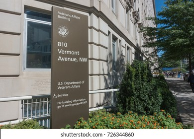 WASHINGTON, DC - SEPT. 7, 2017:  Department of Veteran Affairs, VA, headquarters building with sign. The VA is  responsible for administering  programs for military veterans and their families.
