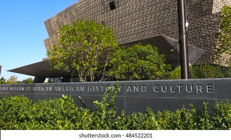 WASHINGTON, DC - SEPT. 9, 2016: South side facing Mall, Museum of African American History and Culture. Sign. Museum is newest on the Mal;l grand opening date Sept. 24, 2016.