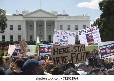 "WASHINGTON, DC - SEPT. 9, 2017: Demonstrators at the White House protest President Trump's decision to phase out DACA, the Deferred Action for Childhood Arrivals program, affecting 800,000 ""Dreamers."""