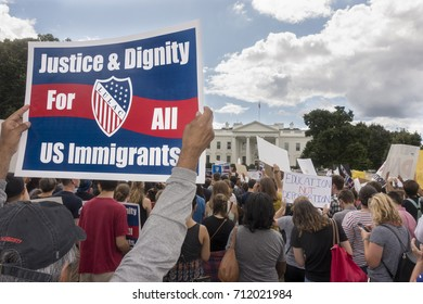 WASHINGTON, DC - SEPT. 9, 2017: Demonstrators at the White House protest President Trump's decision to phase out DACA, the Deferred Action for Childhood Arrivals program.