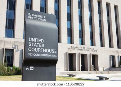 WASHINGTON, DC - SEPTEMBER 10, 2016: E. Barrett Prettyman Federal Courthouse located at 333 Constitution Avenue in Washington, DC