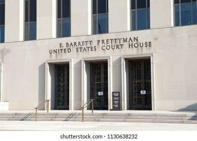 WASHINGTON, DC - SEPTEMBER 10, 2016: E. Barrett Prettyman Federal Courthouse is home to the US Court of Appeals for the District of Columbia Circuit, the US District Court for DC and the US Foreign In