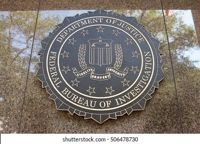 WASHINGTON, DC - SEPTEMBER 10: Federal Bureau of Investigation seal outside the J. Edgar Hoover F.B.I. Building in Washington, DC September 10, 2016.