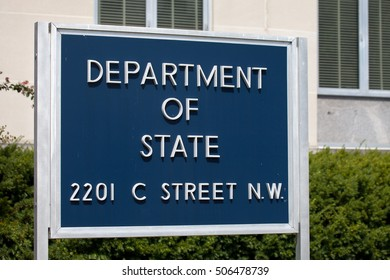 WASHINGTON, DC - SEPTEMBER 10: Sign for the United States Department of State Headquarters on September 10, 2016 in Washington, DC. The department is led by the Secretary of State.