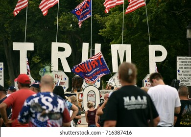 "WASHINGTON, DC -- SEPTEMBER 16 2017: Trump supporters gather on the National Mall for the ""Mother of All Rallies"" event."
