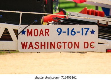 """Washington, DC - September 16, 2017: Protesters gather on the National Mall for a protest in support of President Donald Trump, deemed the """"Mother of all Rallies"""" (MOAR)."""