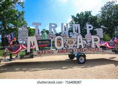 """Washington, DC - September 16, 2017: A scene from a protest in support of President Donald Trump, deemed the """"Mother of all Rallies"""" (MOAR)."""