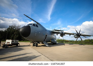 Washington, DC - September 16, 2018: The Airbus A400M Atlas is a European, four-engine turboprop military transport aircraft that can can perform aerial refueling and medical evacuation.