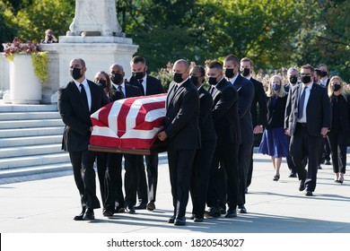 Washington, DC – September 20, 2020: Justice Ruth Bader Ginsburg's coffin being carried into the Supreme Court Building where she will repose for two days for the public to pay their respects.