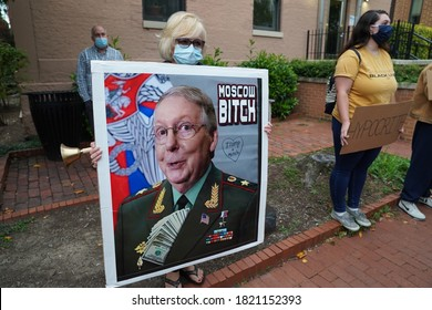 Washington, DC – September 23, 2020: A political poster critical of Senate Majority Leader Mitch McConnell near his home on Capitol Hill.