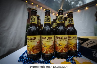 Washington, DC - September 27, 2018: Alcoholic beverages, including beer and wine, are served at an German Oktoberfest themed networking event.